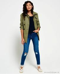 superdry summer belle trench coat khaki women jackets coats khaki