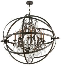 vintage bronze byron 8 light globe chandelier with crystal accents f2998 elite fixtures