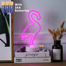 Hongm Flamingo Shape Led Neon Night Light With Base Pink Decorative