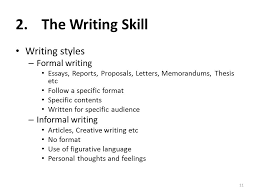 i am anila nosheen from comsats institute of information the writing skill writing styles formal writing informal writing essays reports proposals letters memorandums thesis etc follow a specific format