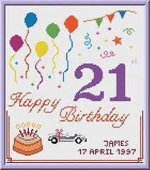 Happy Birthday Chart Decoration 21st Birthday Cross Stitch Pattern Customizable Pdf Chart Personalized Happy Birthday Card