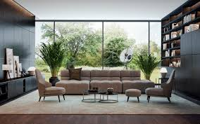 Living Room Chair Ottoman Brown Sofa Lounge Chair Ottoman Open Cabinet Potted Tree Tripod