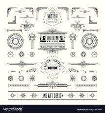 Vintage Design Line Art Deco Retro Vintage Frame Design Elements