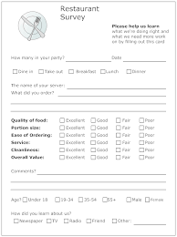 Printable Survey Forms Mesmerizing Example Image Restaurant Survey Form Resident Retention