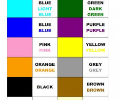 Learning Colours Colour Chart
