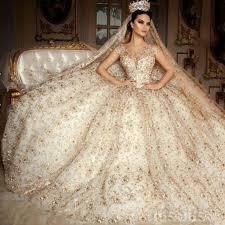 saudi arabia scoop wedding dress cap sleeve lace beaded gold