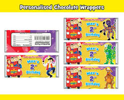 Chocolates Wrappers Details About 12x The Wiggles Personalised Chocolate Wrapper Custom Party Favour Wrappers