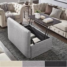 Image Glass Landen Lift Top Upholstered Storage Ottoman Coffee Table By Inspire Artisan Overstockcom Shop Landen Lift Top Upholstered Storage Ottoman Coffee Table By