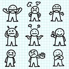 Cartoon Characters On Graph Paper Emotion Cartoon On Graph