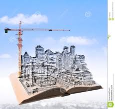 sketching of building construction on flying book over urban sce