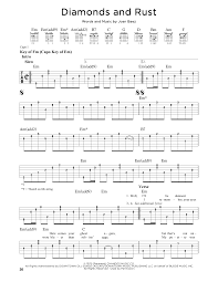 Diamonds and Rust by Joan Baez - Guitar Lead Sheet - Guitar Instructor