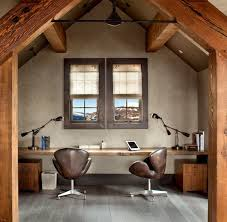 rustic desk home office. Rustic Home Office With Sleek Live Edge Desk