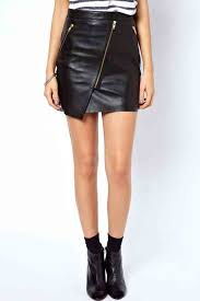 black pu leather oblique zipper decor irregular skirt