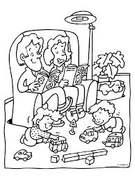 Kleurplaat Familie In De Huiskamer Kleurplatennl