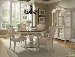 dining room white country round dining room table and chairs set with hutch dining