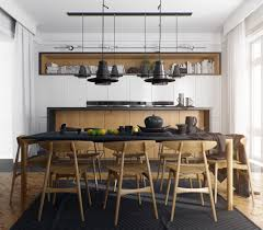 Dark Wood And White Dining Decor