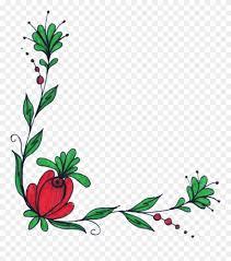 flower corner border vector free