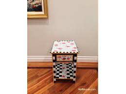 furniture examples. Hand-Painted End Table With Checkers And Flowers Furniture Examples Y
