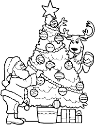Santa Christmas Tree Coloring Page Coloring Page Book For Kids