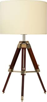 extending tripod chocolate wood table lamp with shade