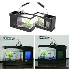 office desk fish tank. Desktop Fish Tank With LED Clock Office Desk