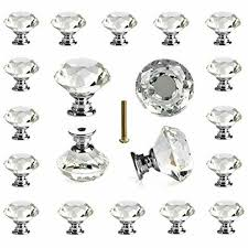 25 pcs glass cabinet knobs crystal drawer pulls clear 30 mm diamond kitchen
