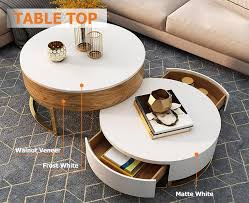 modern round coffee table with storage