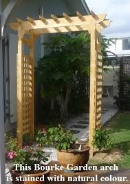 this bourke garden arch was stained with a natural colour