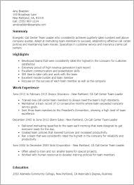 Cover Letter For Team Leader Call Center Professional Call Center