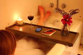 bathtub table wooden bath with book rest and wine glass holder
