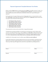 Easy to use word, excel and ppt templates. Simple Payment Agreement Template Between Two Parties Templateral