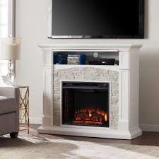 electric fireplace tv stand in white with white faux stone