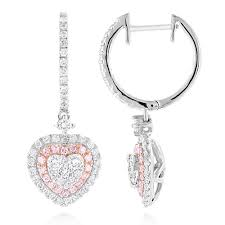 unique luxurman drop earrings white pink diamond heart earrings 14k gold white image