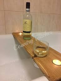 interior bath wine glass holder hardwood wooden caddy shelf