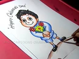 How To Make Children S Day Chart How To Draw Childrens Day Greeting Card Drawing Step By Step