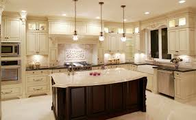 a luxury kitchen with lights and wall decoration