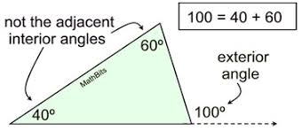 the mere of an exterior angle of a triangle is equal to the sum of the meres of the two non adjacent interior angles non adjacent interior angles