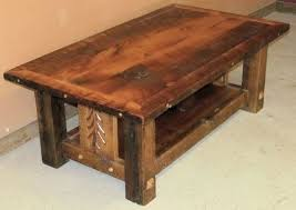 Barn Wood Coffee Table With Decorative Etching