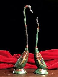 <b>Exquisite Chinese Tibetan style old</b> copper inlaid turquoise swan ...