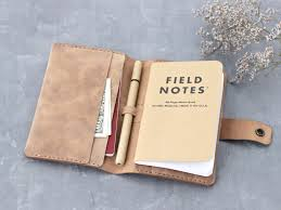 leather field notes cover with 3 big pockets for passport notes or cash 2 pockets for cards and pen holder