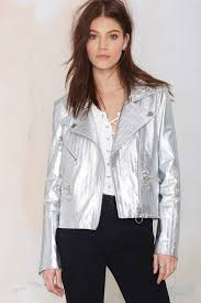 nasty gal metallic silver leather moto jacket available at nasty gal