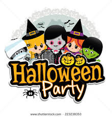 Halloween Party Banner on a white background with children dressed in  costumes as dracula, vampire