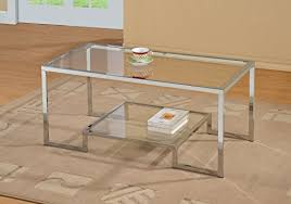 Amazon.com: Chrome Metal Glass Accent Coffee Cocktail Table With Shelf:  Kitchen U0026 Dining