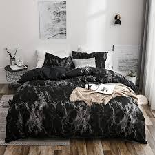 50printed marble bedding set white
