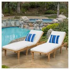 patio chaise lounge. Ariana Set Of 2 Acacia Wood Patio Chaise Lounge With Cushion - Teak Finish Christopher Knight Home : Target L