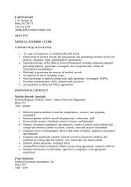 ... Chic Medical Records Clerk Resume 9 File Clerk Objective Medical  Records Resume Sample ...