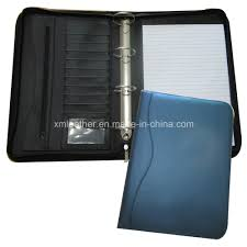 zip a4 compendium 4 ring binder leather file folder with notepad