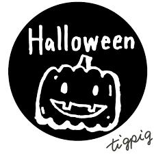 ハロウィンに使えるhalloweenの手書き文字とモノトーンのカボチャの