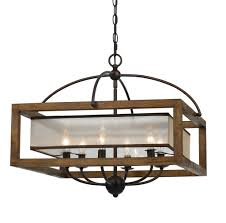 arts and crafts chandelier. Arts Crafts Mission Chandelier Organza Silk Shade, Wood, Iron 6 Lights 24\ And