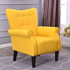 belleze modern accent chair roll arm linen living room bedroom wood leg citrine yellow